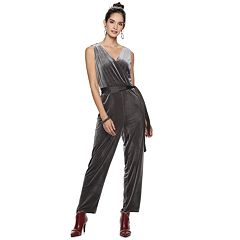 Women's Jennifer Lopez Velvet Wide-Leg Jumpsuit