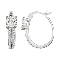 Chrystina Crystal Square Front Crystal Hoop Earrings