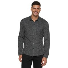 Men's Marc Anthony Long Sleeve Knit Button-front Shirt