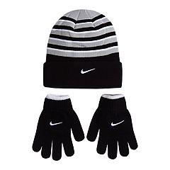 Boys 4-20 Nike Snow-Striped Hat & Gloves Set