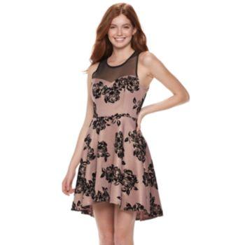 Juniors' Three Pink Hearts Foil Flocked Illusion Skater Dress