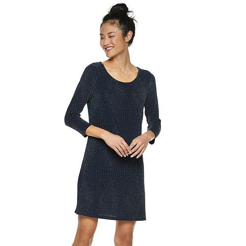 Juniors' Trixxi Glitter Knit A-Line Dress