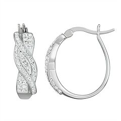 Chrystina Crystal Oval Hoop Earrings