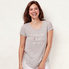 Women's LC Lauren Conrad Slubbed 'Sunshine On My Mind' Graphic Tee