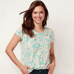 Women's LC Lauren Conrad Slubbed Palm Foiled Graphic Tee