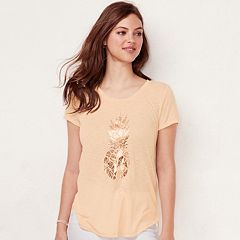 Women's LC Lauren Conrad Slubbed Pineapple Graphic Tee