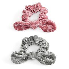 SO® Metallic Pattern Bow Scrunchie Hair Tie Set