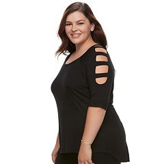 Juniors' Plus Size Liberty Love Bar Cutout Top