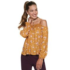 Juniors' Rewind Lace Floral Cold-Shoulder Top