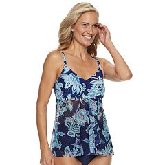 Women's Croft & Barrow® Mesh Flyaway D-Cup Tankini Top