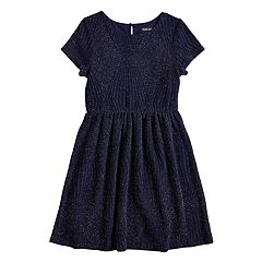 Girls 7-16 Three Pink Hearts Glitter Skater Dress