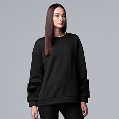 Women's Simply Vera Vera Wang Faux-Fur Trim Sweatshirt