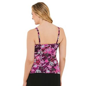 Women's Croft & Barrow® Crossover Ruched Tankini Top