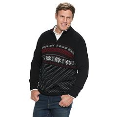 Big & Tall Croft & Barrow® Classic-Fit Holiday Fairisle 7gg Quarter-Zip Sweater