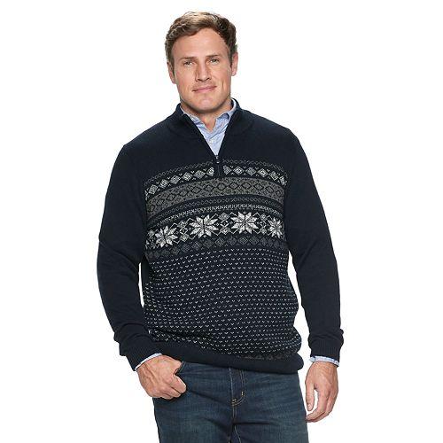 Big & Tall Croft & Barrow® Classic-Fit Holiday Fairisle 7gg Quarter-Zip Sweater