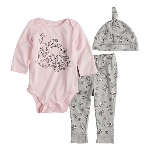 Disney's Bambi Baby Girl Graphic Bodysuit, Pants & Hat Set by Jumping Beans®