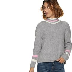 Women's POPSUGAR Striped Mockneck Sweater