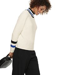 Women's POPSUGAR Striped Mockneck Sweater