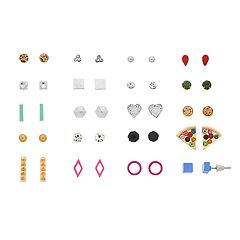 Silver And Gold Tone Heart, Pizza & Simulated Crystal Nickel Free Stud Earring Set