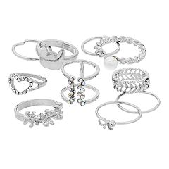 Silver Tone Heart, Cat & Bow Ring Set