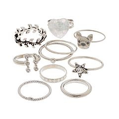 Silver Tone Dog, Heart, Star & Simulated Stone Ring Set