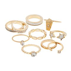 Gold Tone Glitter Star, Coffee & Simulated Stone Ring Set