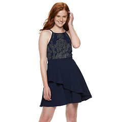 Juniors' Speechless Filigree Halter Skater Dress