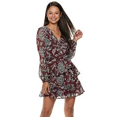 Juniors' Love, Fire Floral Ruffled Wrap Dress