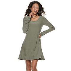 Juniors' Mudd® Lace-Up Sleeve Sueded Jersey Dress