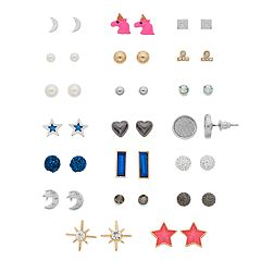 Gold Tone & Silver Tone Unicorn, Heart & Simulated Stone Nickel Free Stud Earring Set