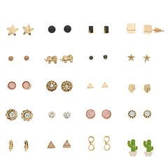 Gold Tone Cactus, Elephant, Star & Simulated Stone Nickel Free Stud Earrings