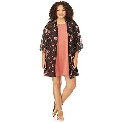Juniors' Plus Size Wallflower Solid Swing Dress & Kimono Set