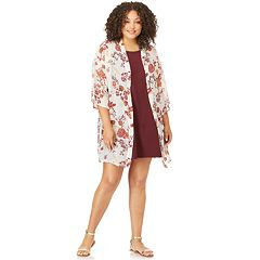 Juniors' Plus Size Wallflower Solid Swing Dress & Kimono Set