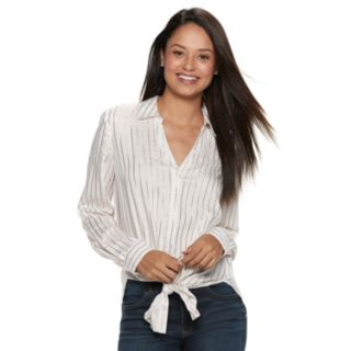 Juniors' Candie's® Striped Tie Front Tunic