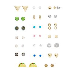 Taco, Infinity & Flower Stud Earring Set