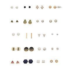 Gold Tone & Silver Tone Avocado, Geometric Shapes & Simulated Stone Nickel Free Stud Earring Set