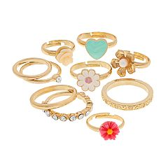 Gold Tone Heart, Flower & Simulated Stone Ring Set