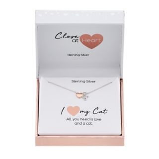 Close at Heart Two Tone Sterling Silver Cubic Zirconia Heart & Cat Necklace