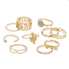 Gold Tone Cactus, Arrow & Simulated Stone Ring Set
