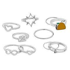 Silver Tone Taco, Heart & Infinity Ring Set