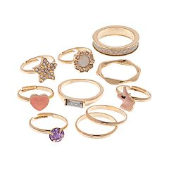 Gold Tone Simulated Stone Heart & Star Ring Set