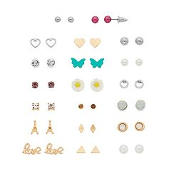 Gold Tone & Silver Tone Butterfly, Flower & 'Love' Nickel Free Stud Earring Set