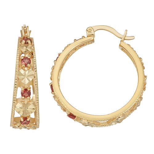 14k Gold Over Silver Garnet Hoop Earrings