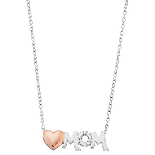 Close at Heart Two Tone Sterling Silver Cubic Zirconia Heart Mom Necklace