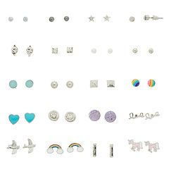 Silver And Gold Tone Rainbow, Unicorn & Simulated Crystal Nickel Free Stud Earring Set