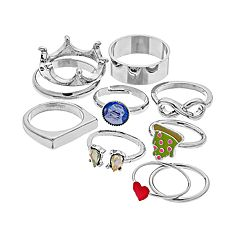 Silver Tone Heart, Pizza & Crown Ring Set