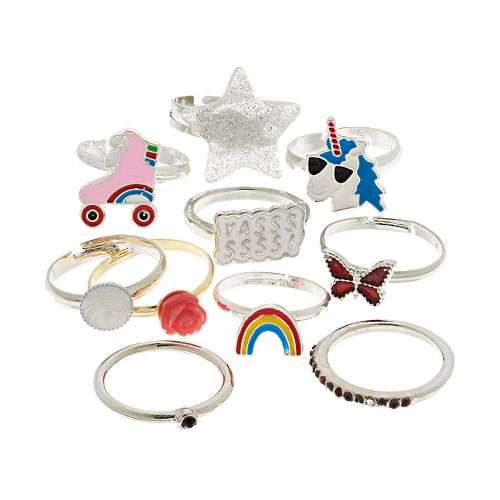 Silver Tone Butterfly, Star, Rainbow & Flower Ring Set
