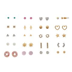 Gold And Silver Tone Heart, Sun, Donut & Simulated Crystal Nickel Free Stud Earring Set