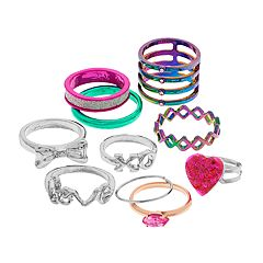Silver Tone And Multi Colored Heart, Bow & 'Love' Ring Set