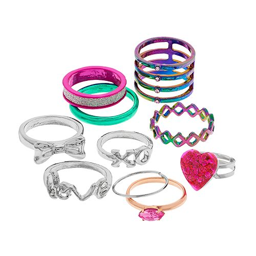 "Silver Tone And Multi Colored Heart, Bow & ""Love"" Ring Set"